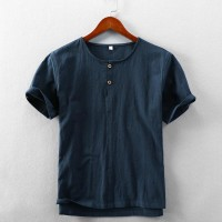 Men's Summer Casual Linen Short Sleeved Shirt