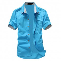 Casual short-sleeve slim shirt